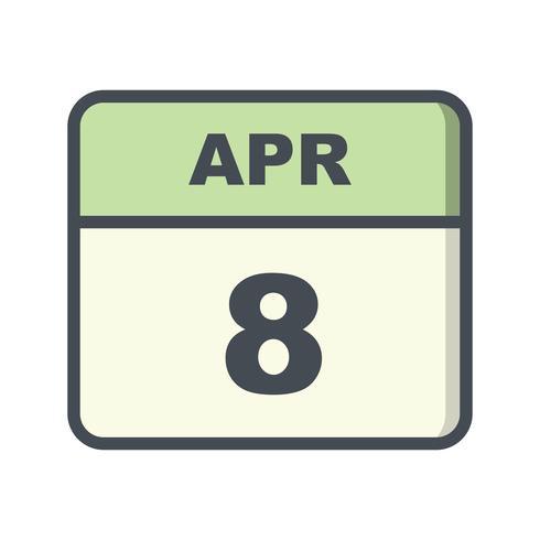 8 avril Calendrier d'un jour vecteur