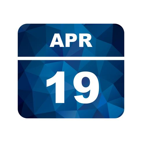 April 19th Date on a Single Day Calendar