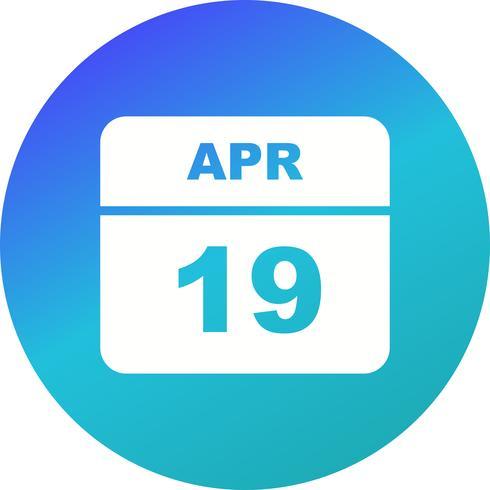 19 aprile Data in un calendario per un solo giorno