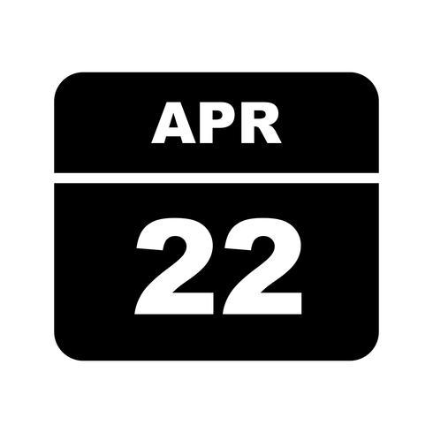 22 april Date on a Single Day Calendar vector