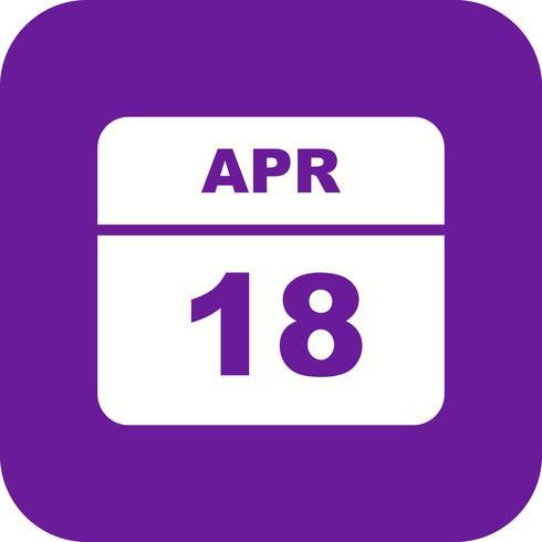 18 april Datum op een eendaagse kalender vector