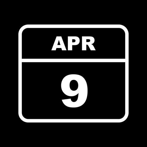 9. April Datum an einem Tagkalender