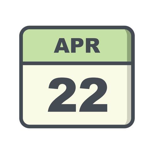 22 de abril Fecha en un calendario de un solo día