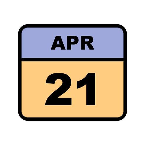 Calendario Giorno.21 Aprile Data Su Un Calendario Per Un Solo Giorno Scarica