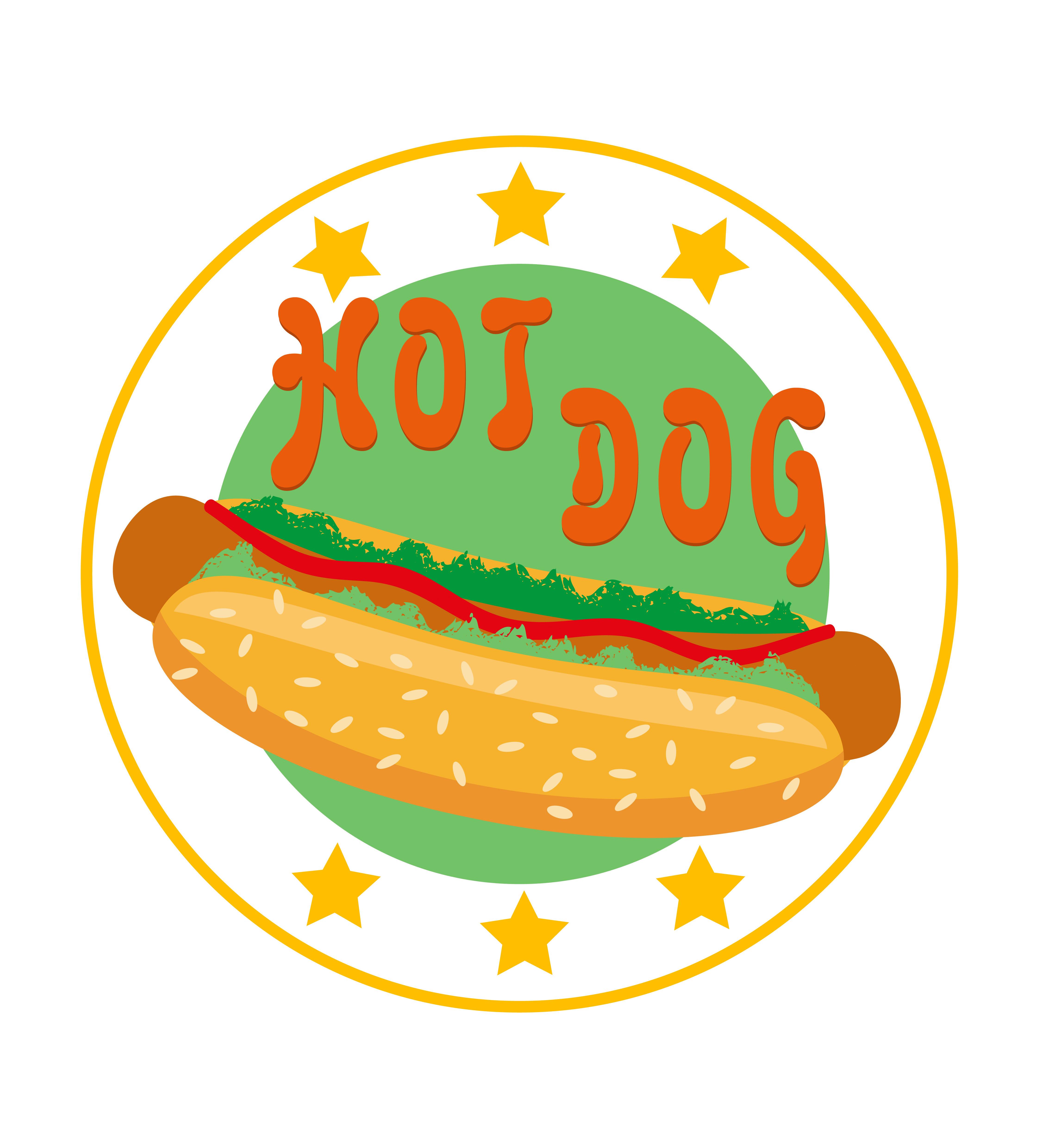 Restaurant Logo Editorial Template:  Logo Hot Dog For Fast Food Vector Illustration