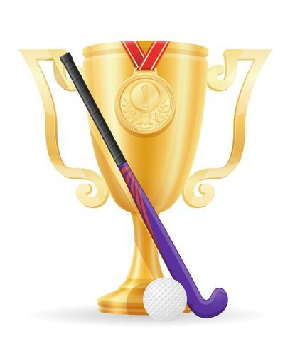 hockey op de winnaar goud voorraad vectorillustratie van de veld beker