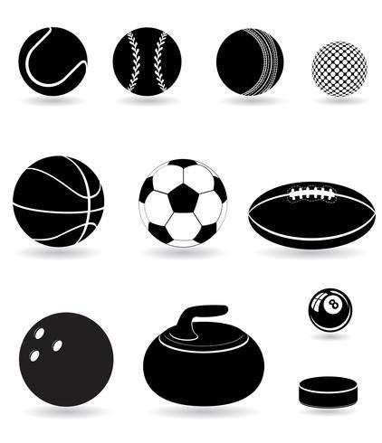 conjunto de ícones esporte bolas silhueta negra vector illustration
