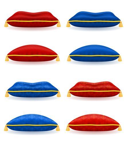 oreiller bleu rouge avec illustration vectorielle de corde et glands or