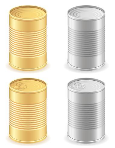 Lata de metal establece iconos vectoriales ilustración vector