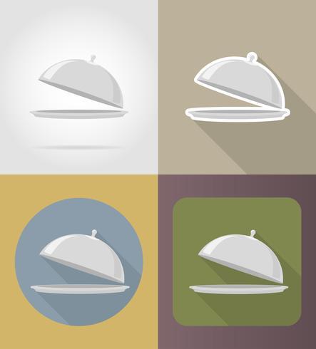 plateau avec objets de couvercle et équipement pour l'illustration vectorielle de nourriture