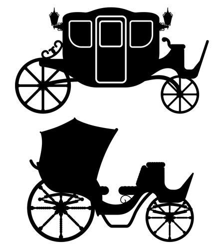 carrello per il trasporto di persone contorno nero sagoma illustrazione vettoriale