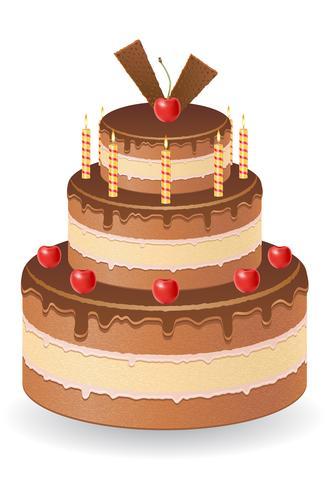 gâteau au chocolat avec des cerises et des bougies allumées vector illustration