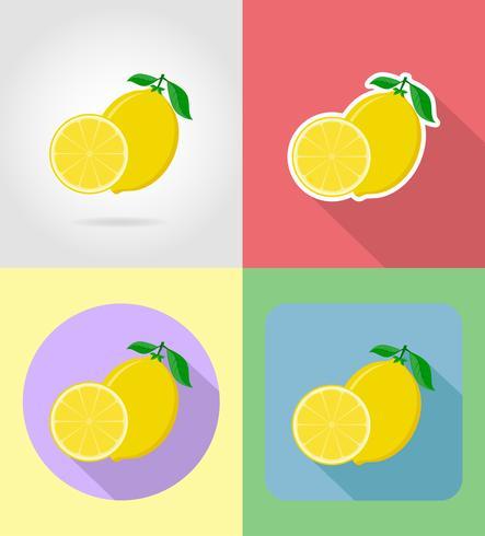 Iconos planos de frutas de limón con la ilustración de vector de sombra