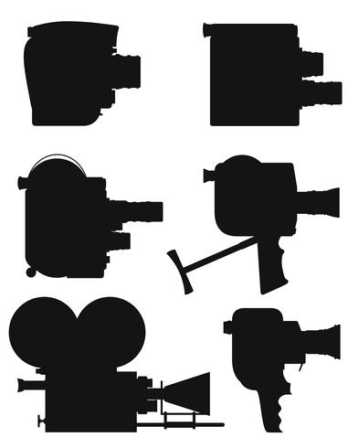 old retro vintage movie video camera black silhouette vector illustration