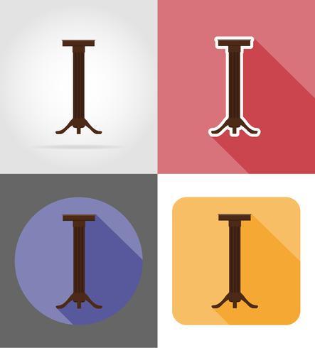 stå för blomkrukor möbler sätta platta ikoner vektor illustration