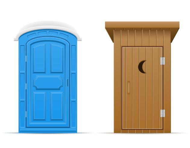 illustration vectorielle de bio et de toilettes en bois en plein air