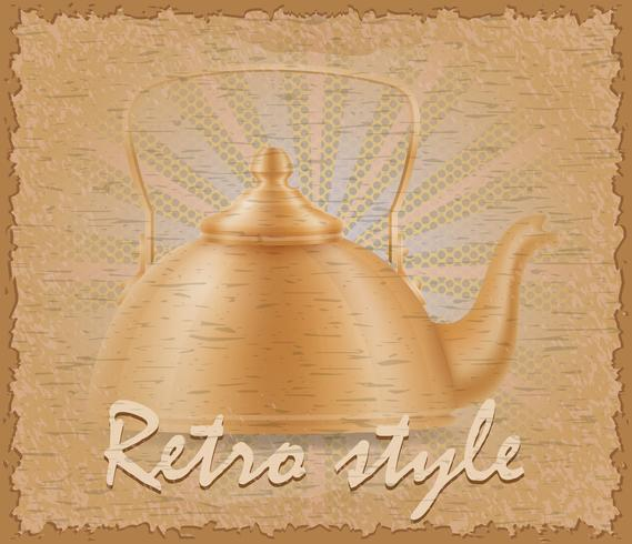 retro style poster old kettle vector illustration