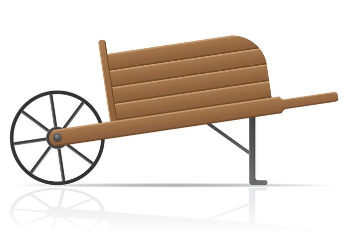 ilustração em vetor carrinho de mão velho jardim de madeira retrô