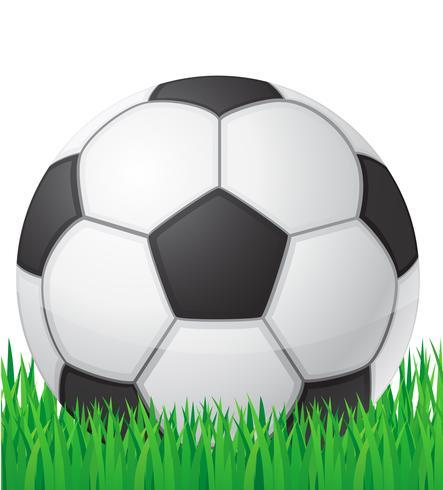 pallone da calcio di calcio nell'illustrazione di vettore del fondo dell'erba