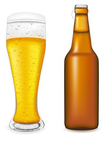 Cerveza en vidrio y botella ilustración vectorial
