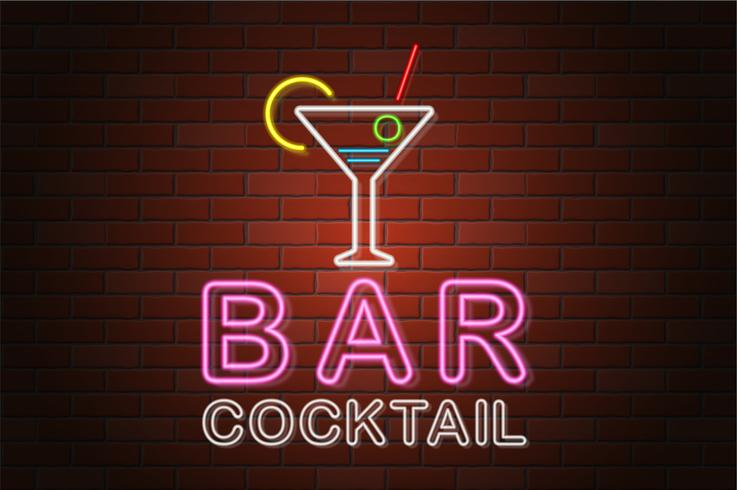 glowing neon signboard beer bar vector illustration