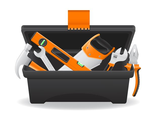 Abra la caja de herramientas plástica ilustración vectorial vector