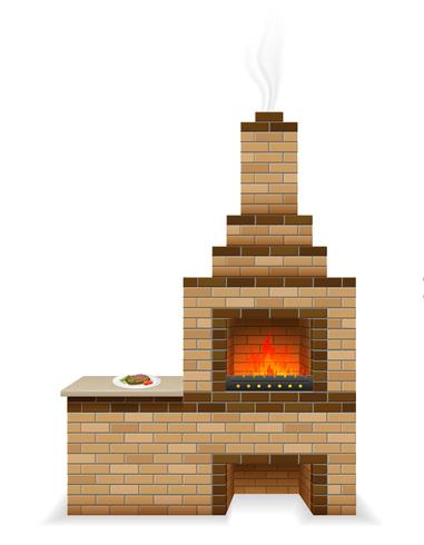 barbecue oven built of bricks vector illustration
