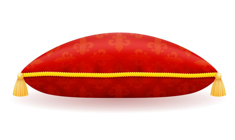 Ilustración de vector de almohada de satén rojo
