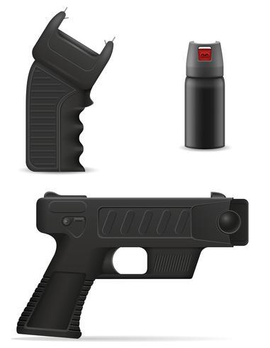 arme d'autodéfense pour se protéger contre les attaques de bandits vector illustration
