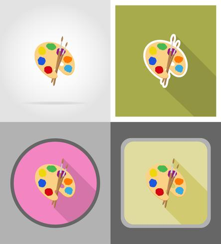 palette and brush flat icons vector illustration