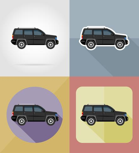 suv transport plat pictogrammen vector illustratie