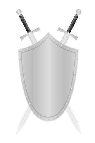Ilustración de vector de escudo y dos espadas