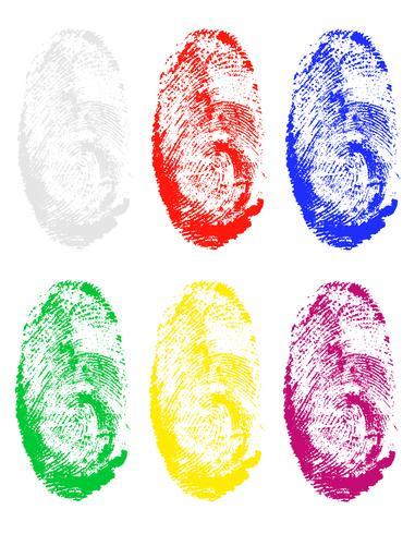 Fingerabdruck der verschiedenen Farbenvektorillustration