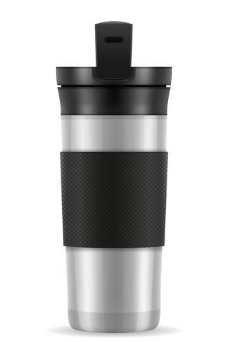 metallic silver thermo cup thermomug vector illustration