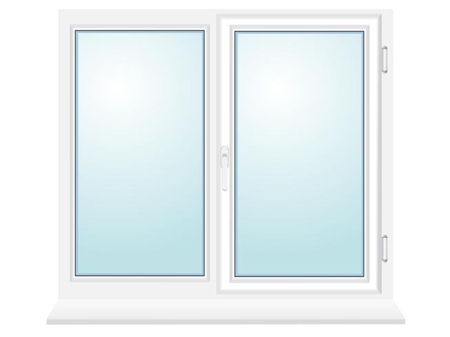 geschlossene Plastikglasfenster-Vektorillustration