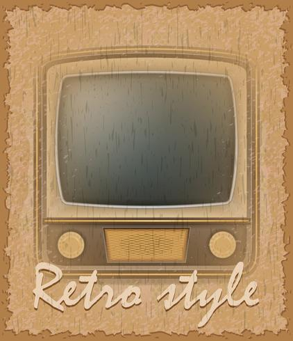 retro stil affisch gammal tv vektor illustration