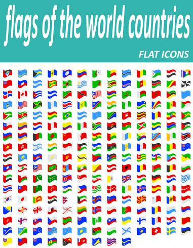 set flags of the world countries flat icons vector illustration