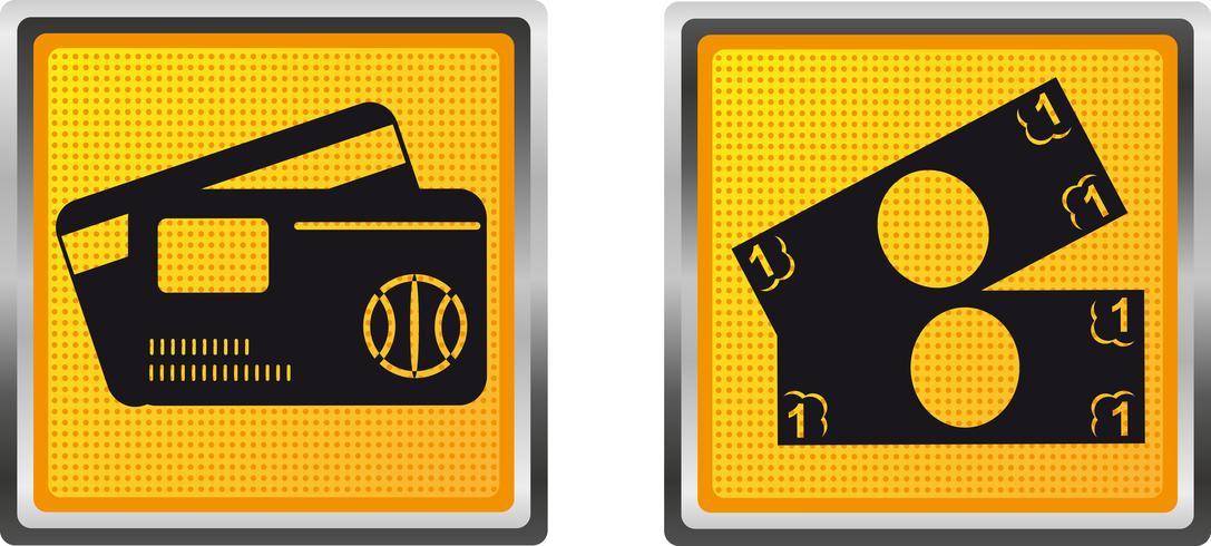Tarjeta de iconos y dinero en efectivo para la ilustración de vector de diseño