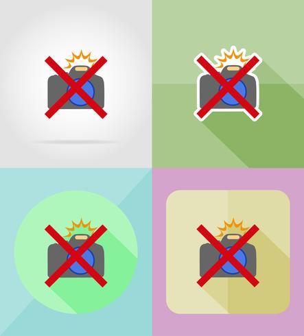 illustrazione vettoriale icone piane della fotocamera