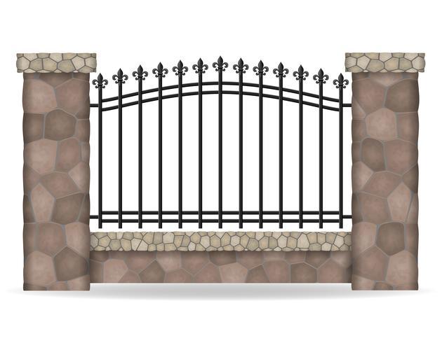 stone fence vector illustration