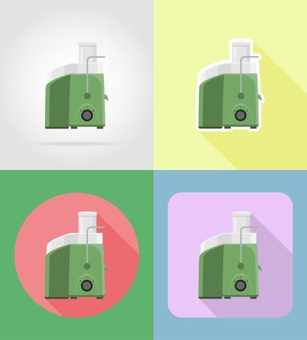 Juicer-Haushaltsgeräte für flache Ikonen der Küche vector Illustration