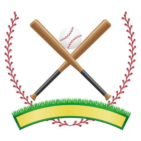 illustrazione di vettore dell'emblema della bandiera di baseball