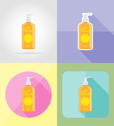 icone piane crema solare illustrazione vettoriale