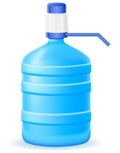 Agua en bootle plástico con una ilustración de vector de bomba de mano