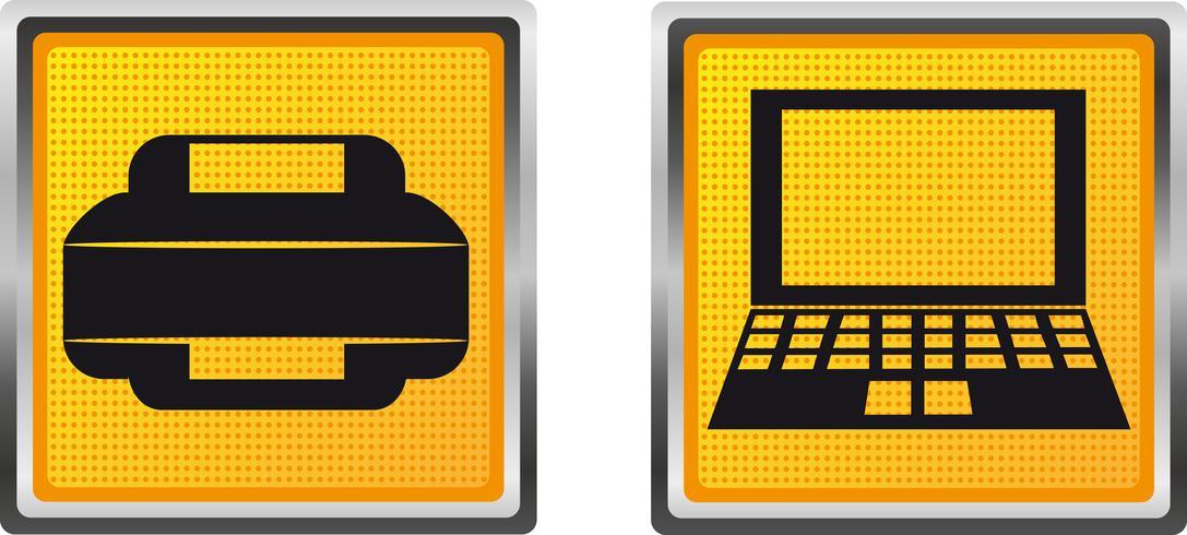 ikoner skrivare och dator för design vektor illustration