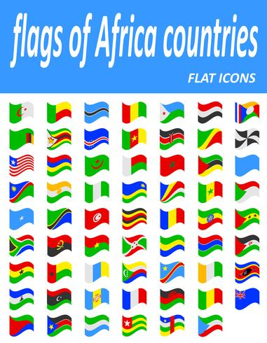 flags of Africa countries flat icons vector illustration