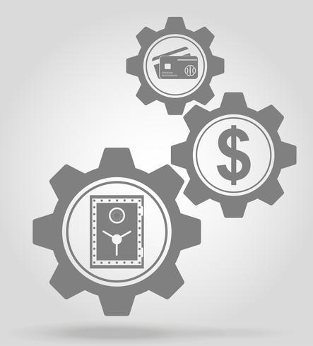 illustrazione di vettore di concetto di meccanismo di ingranaggio di finanza