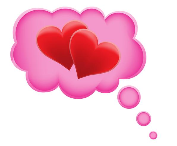 Konzept des Traums eine Liebe in der Wolkenvektorillustration