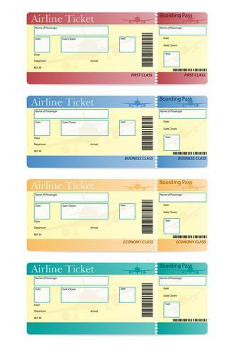 Ilustración de vector de billete de avión