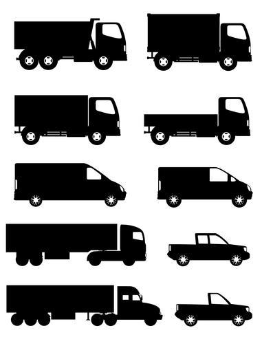 reeks pictogrammenauto's en vrachtwagen voor zwarte vectorillustratie van het vervoerslading